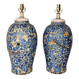 1970s Blue Urn Shaped Ceramic Mosaic Lamps - a Pair For Sale