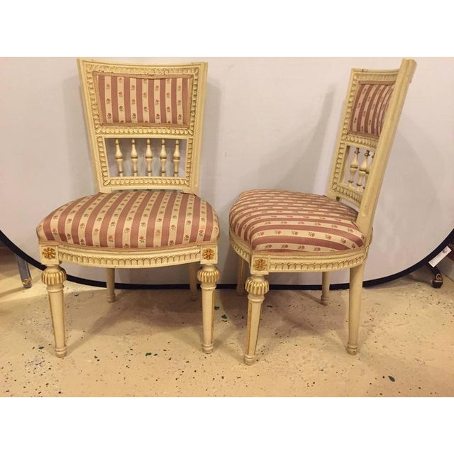 1940s Pair of Paint Decorated Jansen Style Side Chairs For Sale - Image 5 of 10
