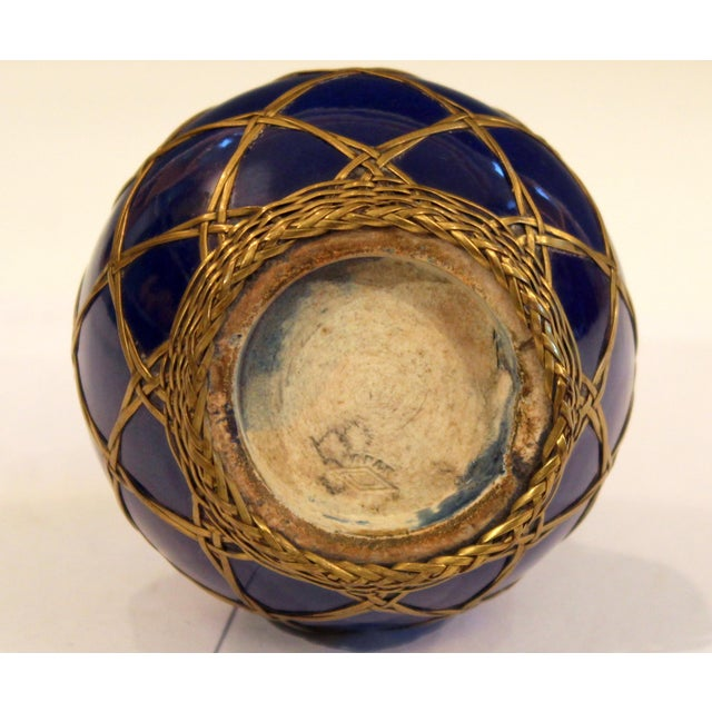 Antique Awaji Pottery Japanese Arts & Crafts Cup Brush Pot Jar Bronze Weave For Sale - Image 9 of 12