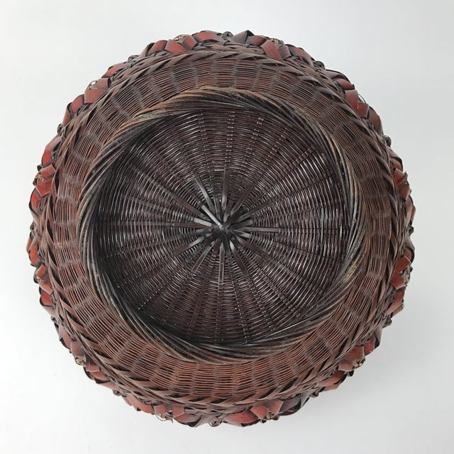 Antique Asian Bamboo Handmade Basket For Sale - Image 4 of 6