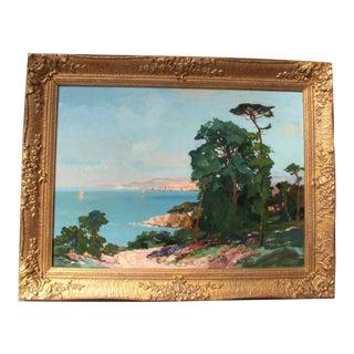 An Original Oil Painting - a Mediterranean Coastal View For Sale