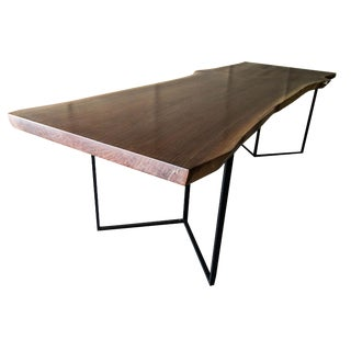 Modern Walnut Live Edge Dining Conference Table