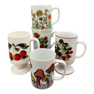 1960s Mismatched Vintage Pedestal Cups - Set of 5 For Sale