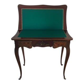 Vintage Marquetry and Swivel Card Playing Table For Sale