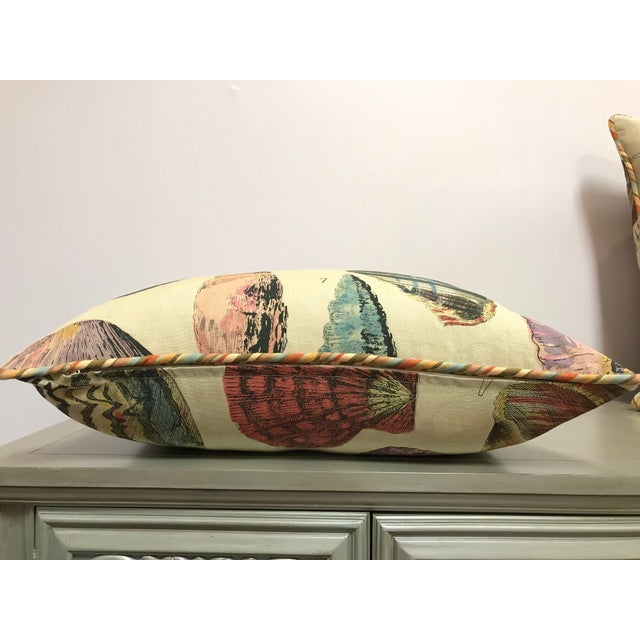 Feather Specimen Sea Shell Print Decorative Throw Pillows - a Pair For Sale - Image 7 of 9