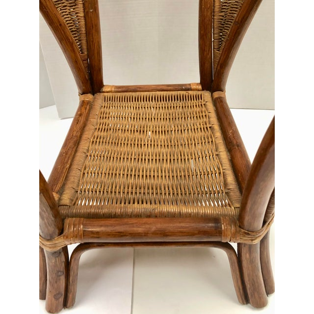1940s Rattan and Wicker Side Table For Sale - Image 9 of 12