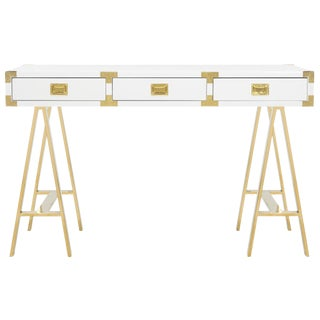 Pasargad Firenze Collection White Lacquer & Stainless Steel Desk For Sale