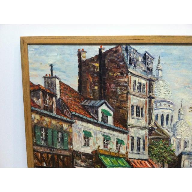 "Mid 20th Century Vintage Mid-Century ""Sidewalk Dining"" Original Canvas Painting For Sale - Image 5 of 7"