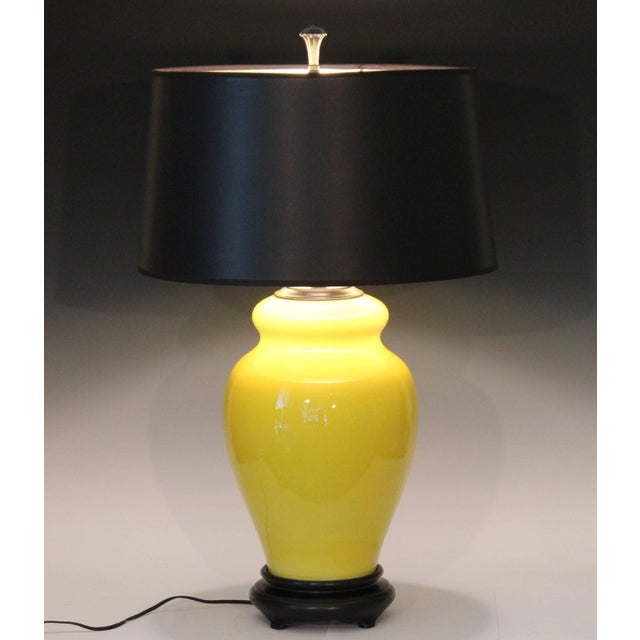 Alvino Bagni Atomic Chrome Crackle Yellow Italian Pottery Raymor Gourd Lamp For Sale - Image 10 of 11
