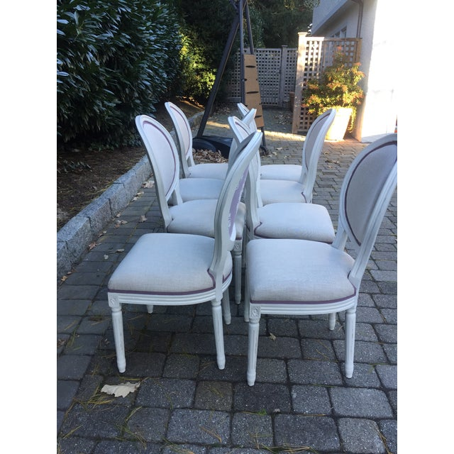 Belgian Modern Custom-Upholstered Louis-Style Round Dining Side Chairs- Set of 8 For Sale - Image 3 of 11