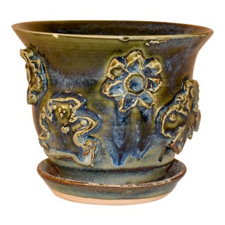 North Carolina Pottery Flower Pot With Attached Saucer For Sale