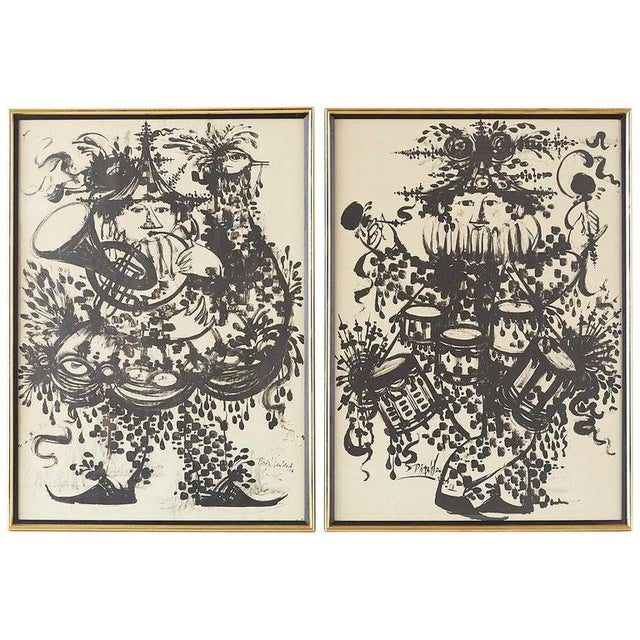 Pair of Bjorn Wiinblad Lithographs of Musical Players For Sale - Image 13 of 13