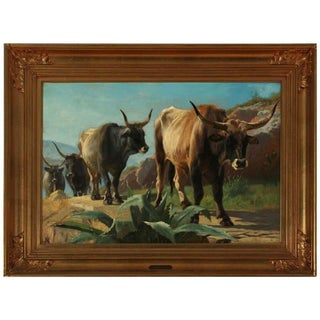 19th Century Painting of Oxen in Italy Oil Painting by Adolf Mackeprang, Framed For Sale