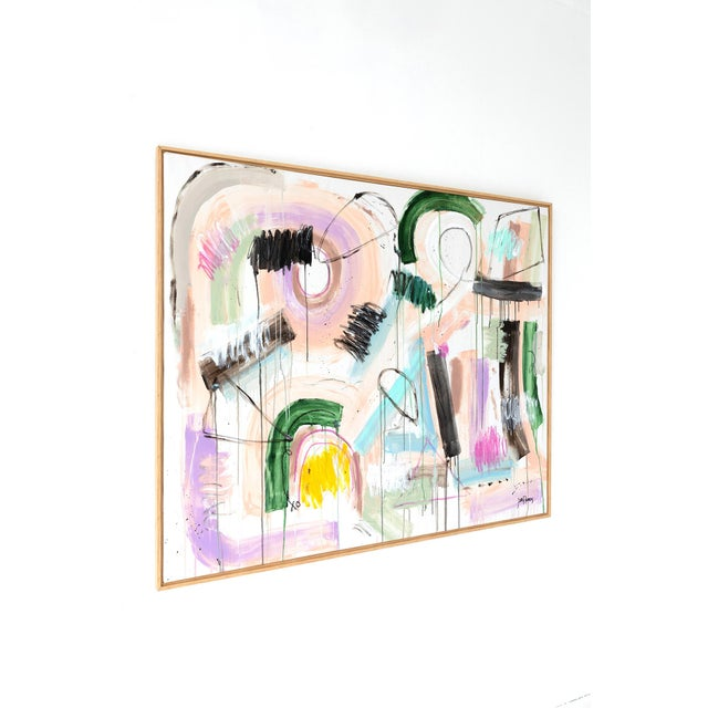 Original abstract acrylic painting by Jen Ramos. Signed, unframed. Medium: acrylic and crayon on canvas. Size: 60″ x 48″....