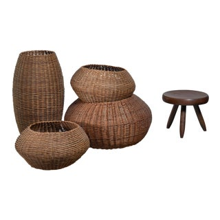 Set of Four Raffaella Crespi Decorative Rattan Baskets For Sale