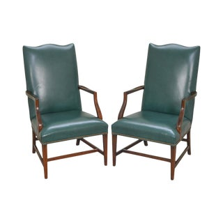 Hepplewhite Style Green Leather Martha Washington Lolling Arm Chairs - A Pair For Sale