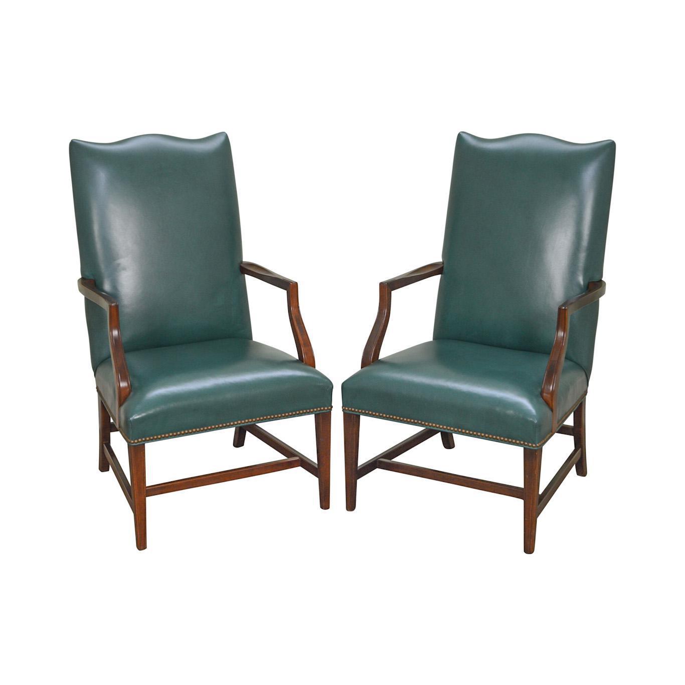 Genial Hepplewhite Style Green Leather Martha Washington Lolling Arm Chairs   A  Pair