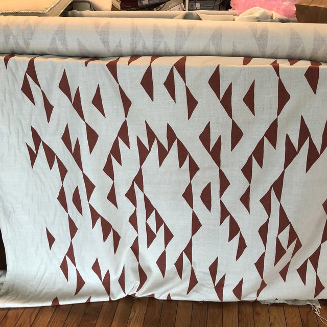 Maroon Print Fabric on Silk For Sale - Image 4 of 8