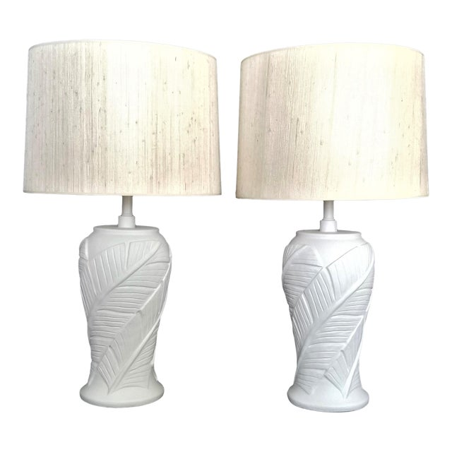 White Plaster Palm Banana Leaf Lamps in the Style of Serge Roche - a Pair For Sale - Image 12 of 13