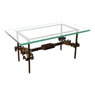 Brutalist Spanish Gilded Iron Glass Coffee Table, Circa 1950's For Sale