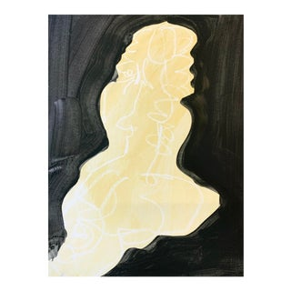Ali Seated - Yellow and Black Drawing by Heidi Lanino For Sale