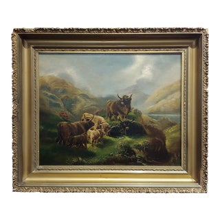 Robert Watson -Highland Cattle in a Scottish Landscape-Oil Painting-C1880s For Sale