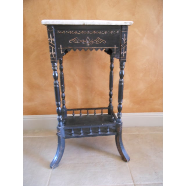 Antique Marble Top Stand - Image 2 of 4
