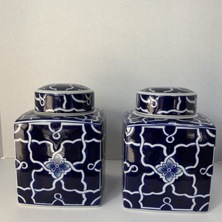 Chinese Blue & White Lidded Cannisters- a Pair Preview