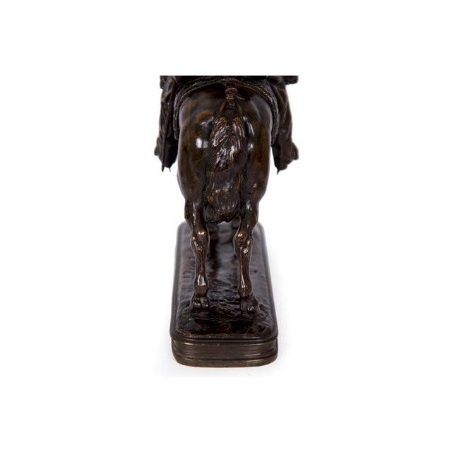 Gold Antique French Bronze Sculpture of a Soldier on Horseback by Emmanuel Fremiet For Sale - Image 8 of 13