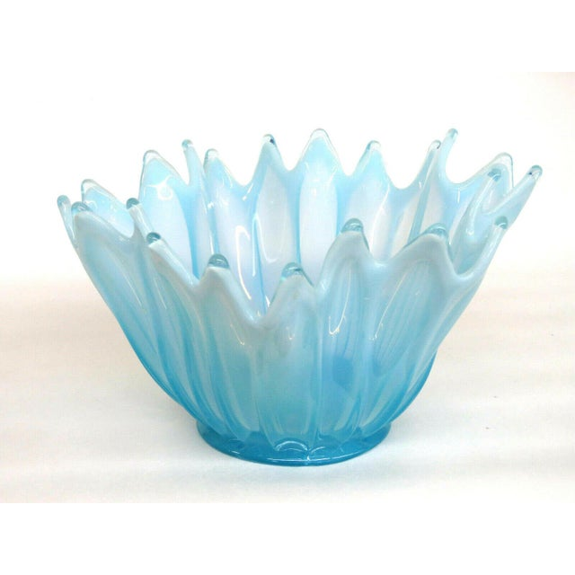 Fostoria Heirloom Style Blue Opalescent Glass Crimped Handkerchief Bowl For Sale - Image 11 of 11