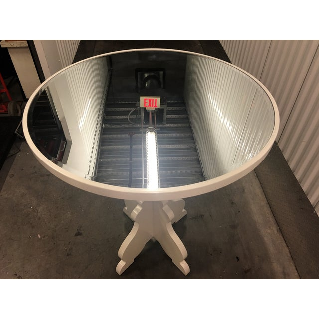 Round White Beveled Mirror Entry Table - Image 3 of 6