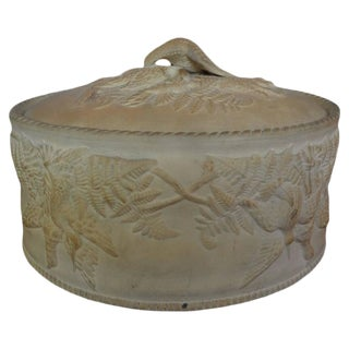 19th Century Antique French Caneware Game Pie Dish With Original Liner For Sale