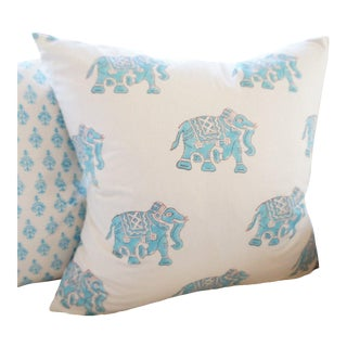 Indian Block Print Blue Elephant Pillow Cover For Sale
