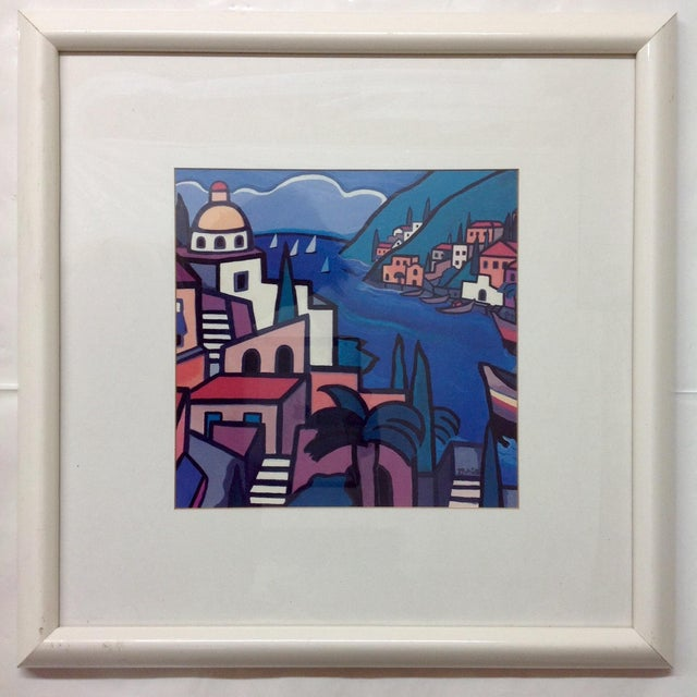 Early Hand Signed Romero Britto Lithograph. An earlier piece depicting a port seascape in Brazil.