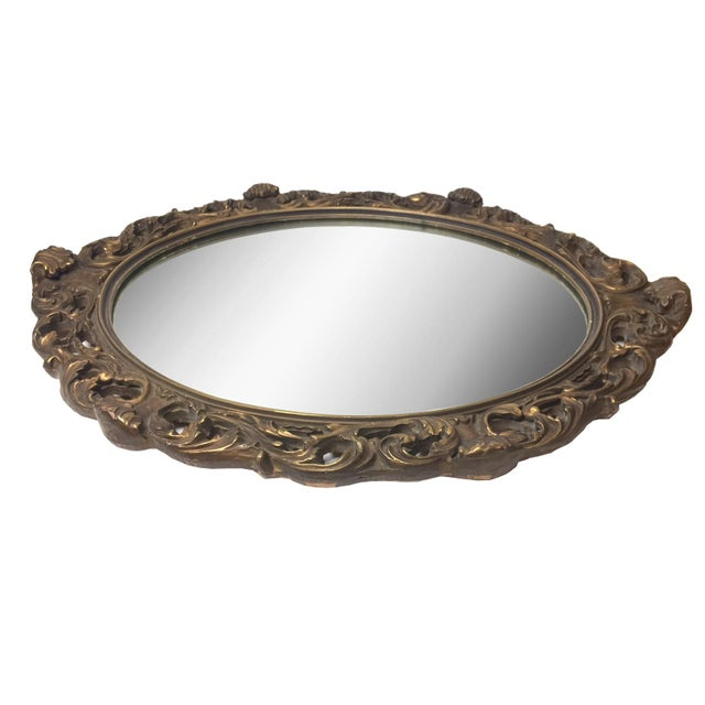 1940s Rococo Hand Carved Wooden Mirror - Image 2 of 5