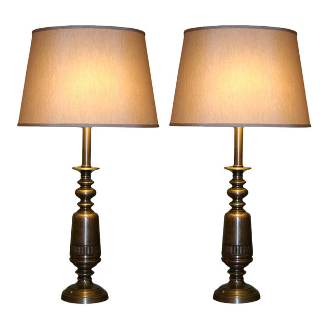 Pair of Sculptural Brass Lamps For Sale