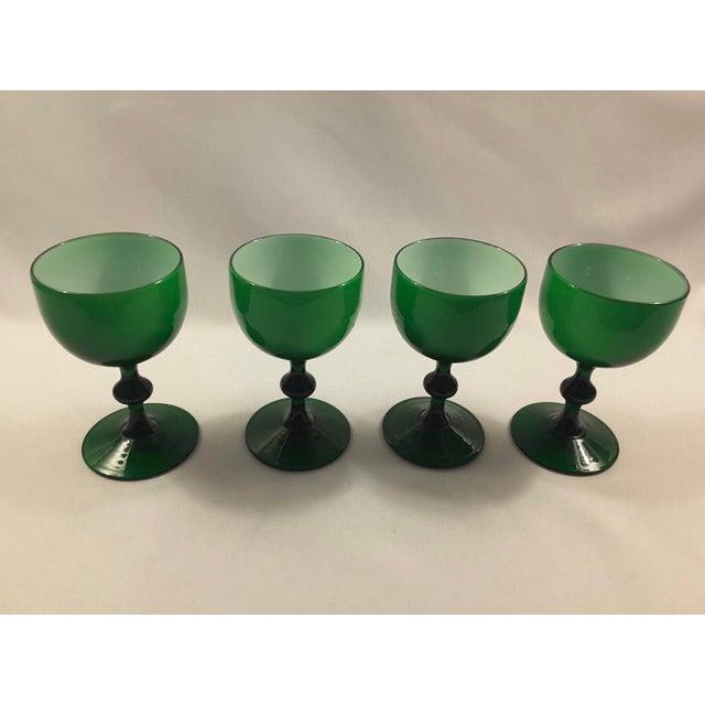 Carlo Moretti Carlo Moretti Emerald Green White Cased Glass Coupes - Set of 4 For Sale - Image 4 of 4