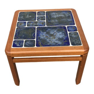 1970s Danish Modern Tue Poulsen Haslev Teak Table With Art Tile For Sale