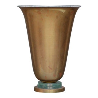 1950s Brass and Glass French Art Deco Urn Lamp For Sale