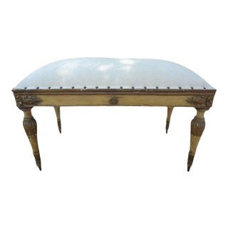 1920's Italian Neoclassical Style Painted and Giltwood Bench For Sale