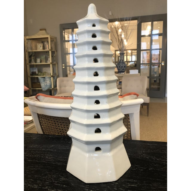 Early 21st Century Bungalow 5 White Pagoda Tower Statue For Sale - Image 6 of 6