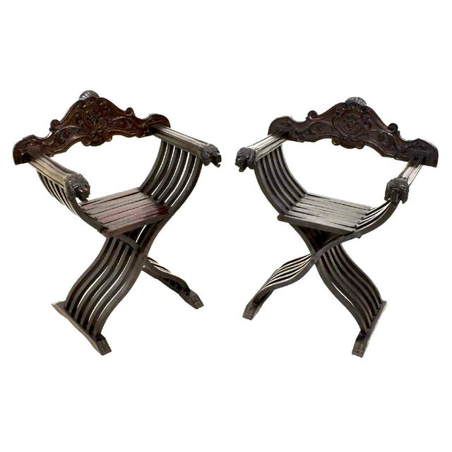 Mid 20th Century Italian Walnut Savonarola Curule Chairs With Loin Motif- a Pair For Sale - Image 5 of 12
