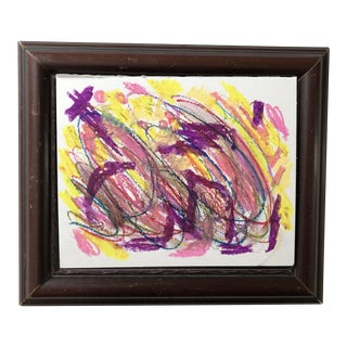 Abstract Drawing in French Oil Pastels by Erik Sulander For Sale
