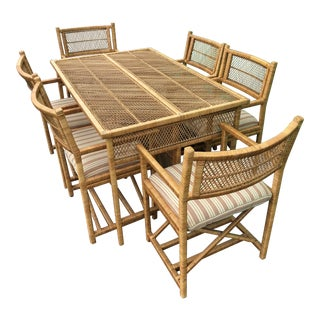 Vintage Boho Chic Wicker Table Six Arm Chairs For Sale