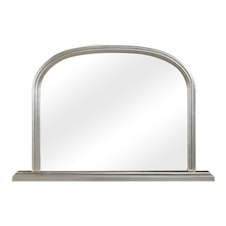 Lyon Beveled Arched Silver Solid Wood Frame Wall Mirror For Sale