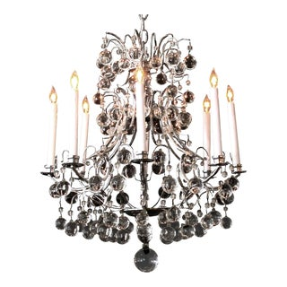 A Stylish French 1960's Chrome Basket-Form 8-Light Chandelier With Crystal Orbs For Sale