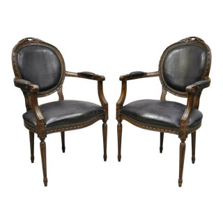 1960s Vintage French Louis XVI Style Italian Bow Carved Fauteuil Fireside Arm Chairs- A Pair For Sale