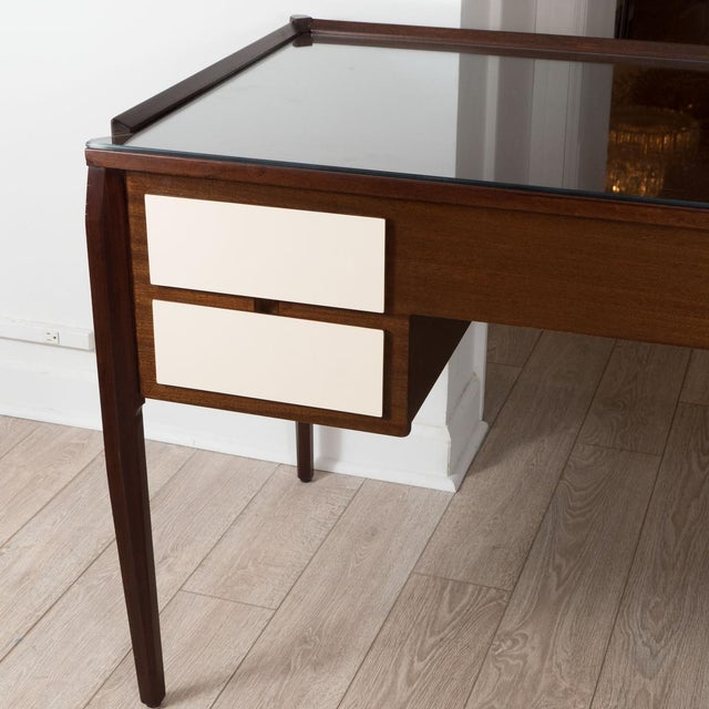 Gio Ponti Vintage Four Drawer Lacquered Wood Panel Desk For Sale - Image 4 of 5