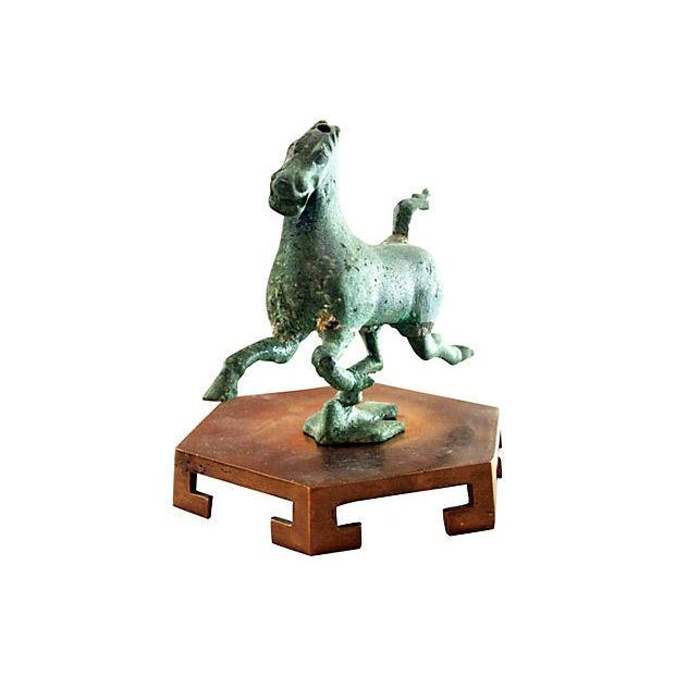 Asian Ganzu Bronze Flying Horse Statue For Sale - Image 3 of 5