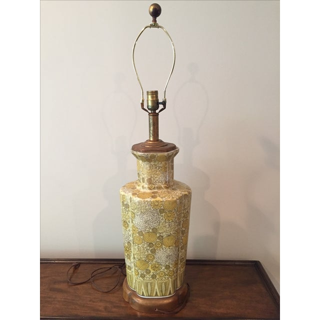 Vintage Ceramic Yellow Champagne Floral Table Lamp For Sale - Image 4 of 7